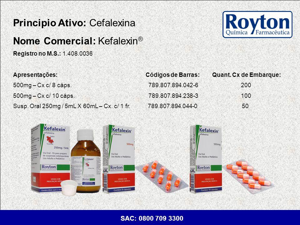 Principio Ativo: Cefalexina Nome Comercial: Kefalexin®