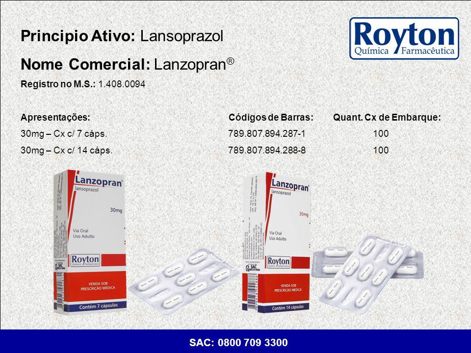 Principio Ativo: Lansoprazol Nome Comercial: Lanzopran®