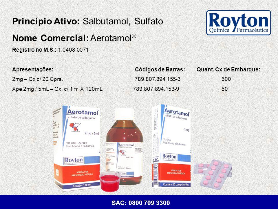 Princípio Ativo: Salbutamol, Sulfato Nome Comercial: Aerotamol®