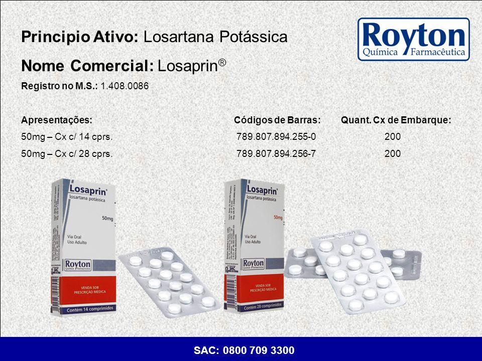 Principio Ativo: Losartana Potássica Nome Comercial: Losaprin®