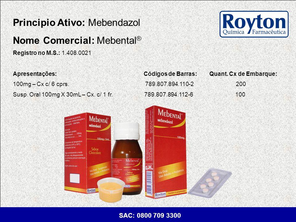 Principio Ativo: Mebendazol Nome Comercial: Mebental®