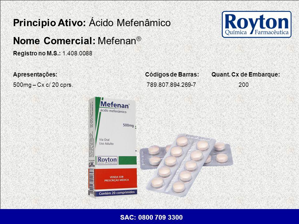 Principio Ativo: Ácido Mefenâmico Nome Comercial: Mefenan®
