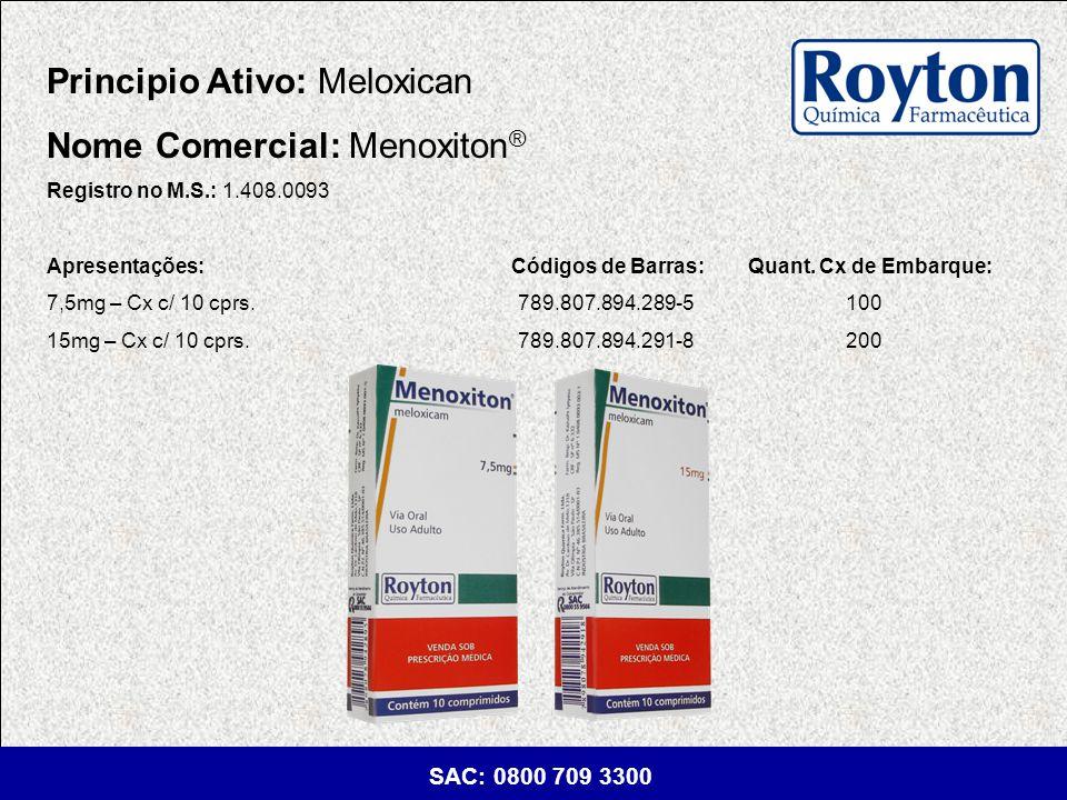 Principio Ativo: Meloxican Nome Comercial: Menoxiton®