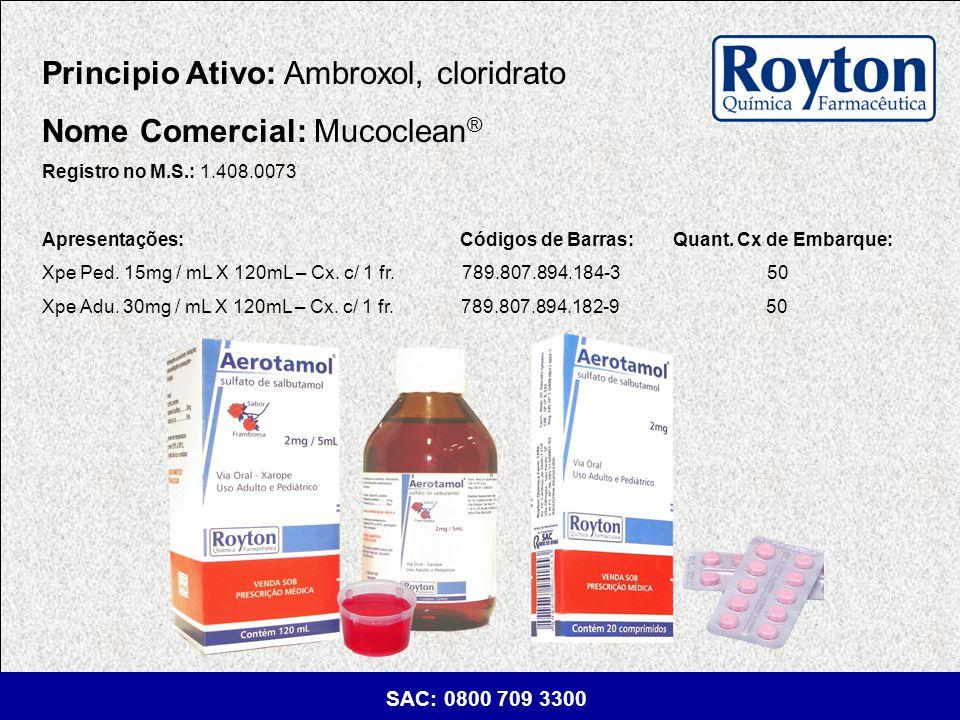 Principio Ativo: Ambroxol, cloridrato Nome Comercial: Mucoclean®
