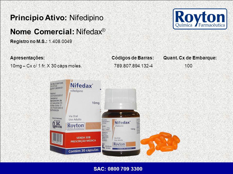 Principio Ativo: Nifedipino Nome Comercial: Nifedax®
