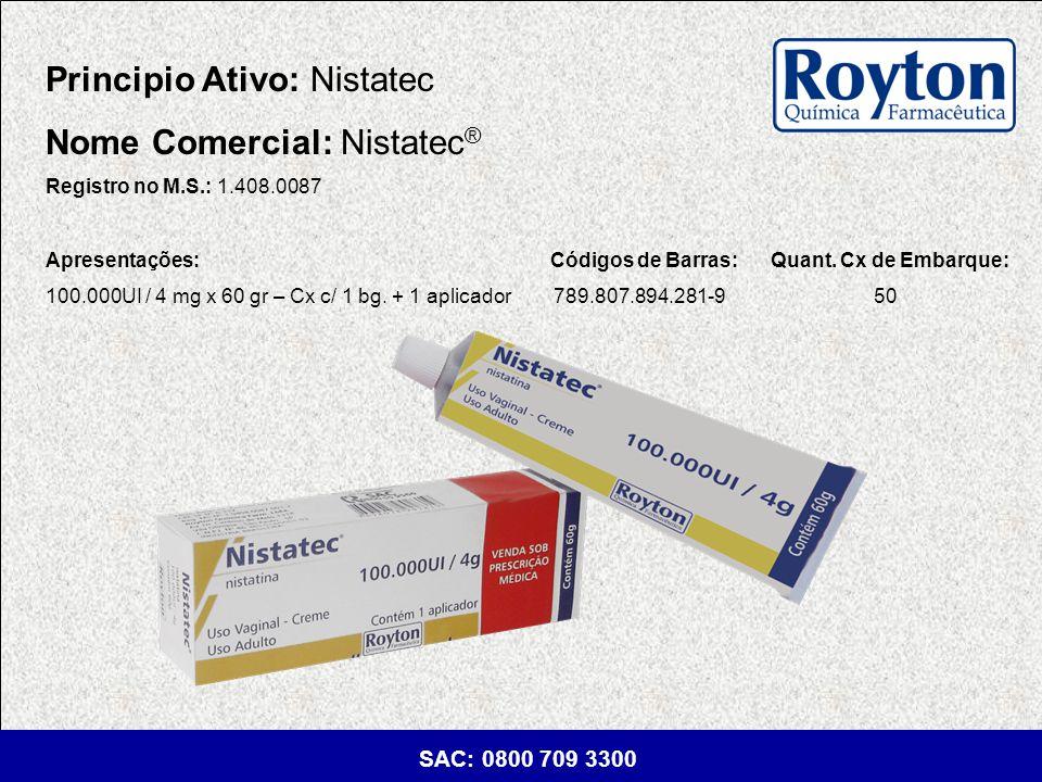 Principio Ativo: Nistatec Nome Comercial: Nistatec®