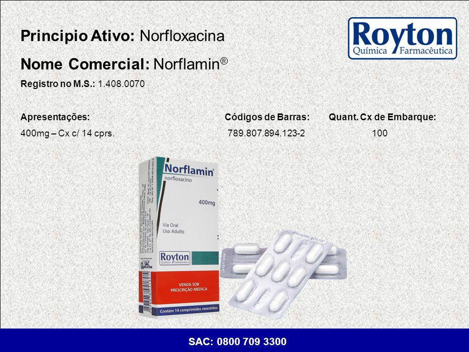 Principio Ativo: Norfloxacina Nome Comercial: Norflamin®