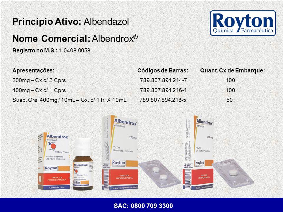 Princípio Ativo: Albendazol Nome Comercial: Albendrox®