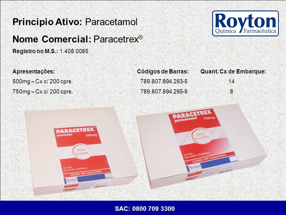 Principio Ativo: Paracetamol Nome Comercial: Paracetrex®
