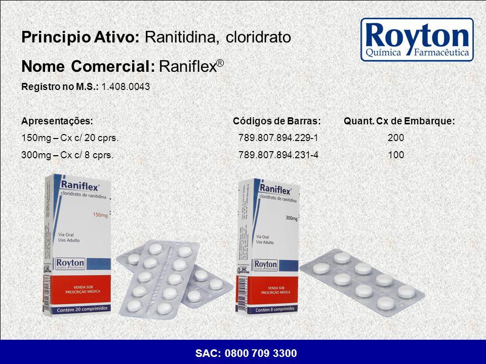 Principio Ativo: Ranitidina, cloridrato Nome Comercial: Raniflex®