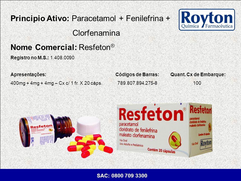 Principio Ativo: Paracetamol + Fenilefrina + Clorfenamina