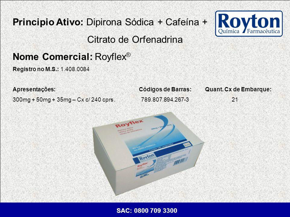 Principio Ativo: Dipirona Sódica + Cafeína + Citrato de Orfenadrina