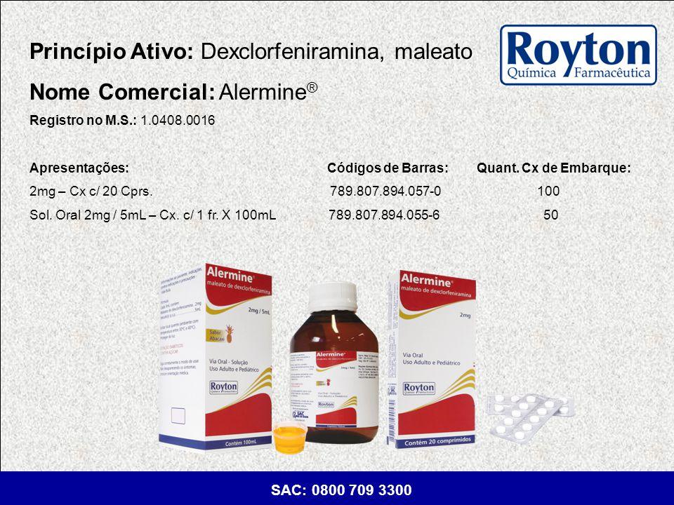 Princípio Ativo: Dexclorfeniramina, maleato Nome Comercial: Alermine®
