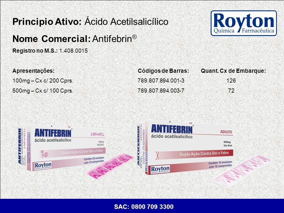Principio Ativo: Ácido Acetilsalicílico Nome Comercial: Antifebrin®