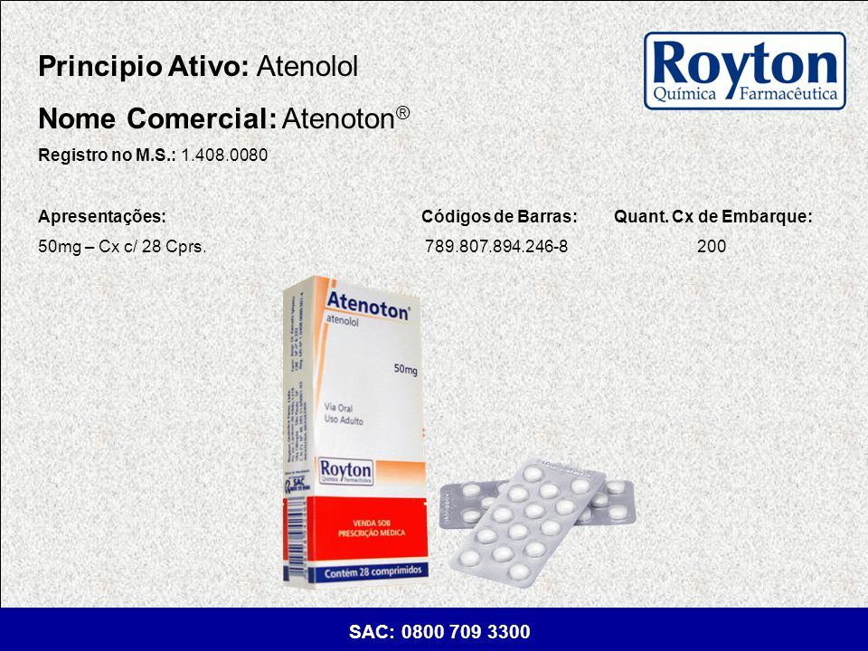 Principio Ativo: Atenolol Nome Comercial: Atenoton®