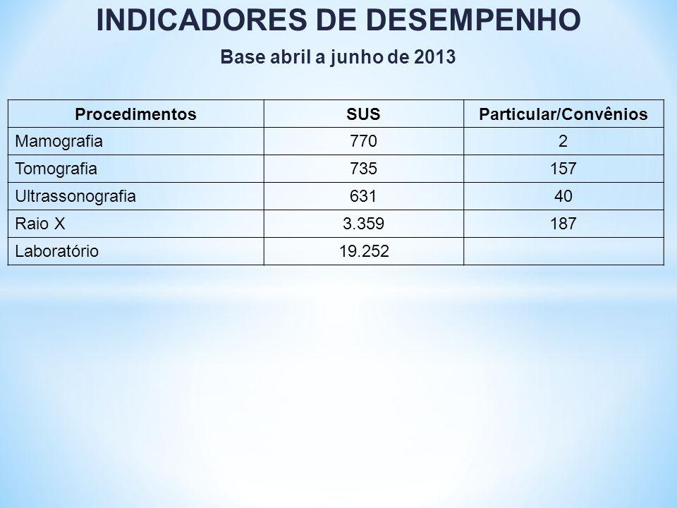 INDICADORES DE DESEMPENHO Particular/Convênios