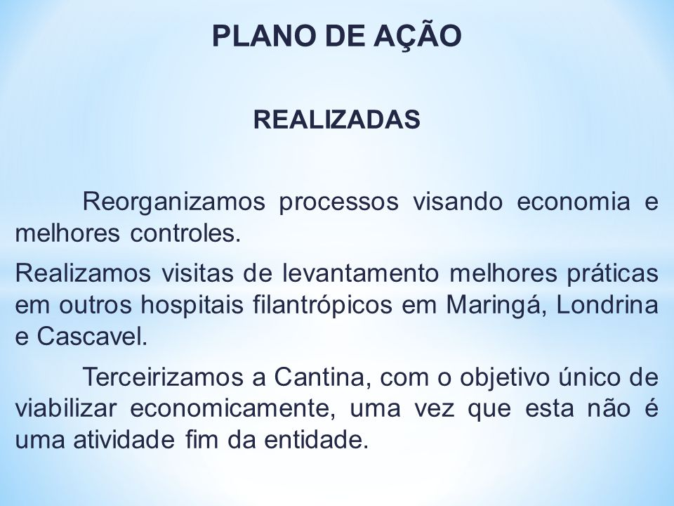 PLANO DE AÇÃO REALIZADAS