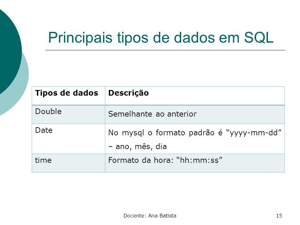 Principais tipos de dados em SQL