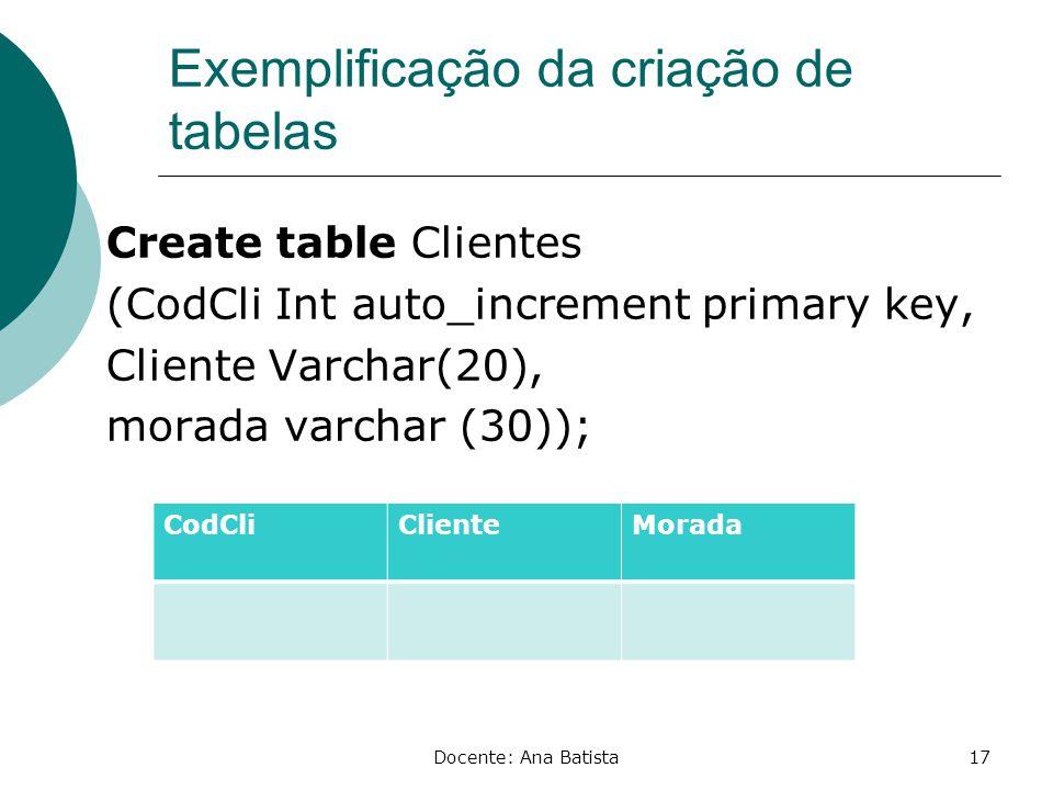 Exemplificação da criação de tabelas