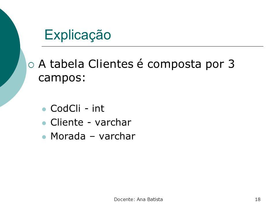 Explicação A tabela Clientes é composta por 3 campos: CodCli - int