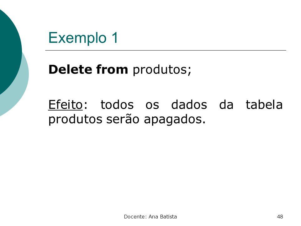 Exemplo 1 Delete from produtos; Efeito: todos os dados da tabela produtos serão apagados.