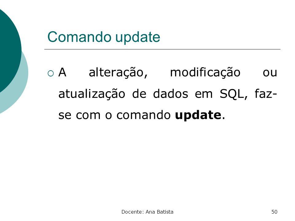 Comando update A alteração, modificação ou atualização de dados em SQL, faz-se com o comando update.
