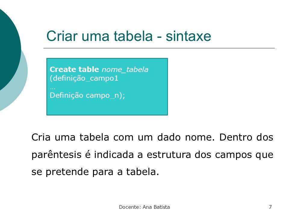 Criar uma tabela - sintaxe
