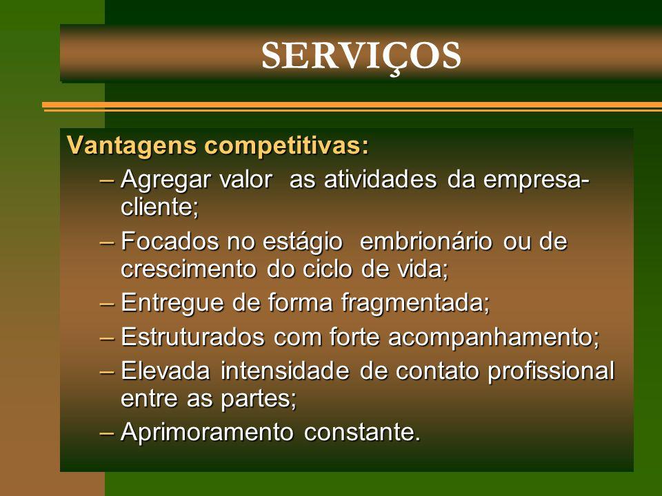 SERVIÇOS Vantagens competitivas: