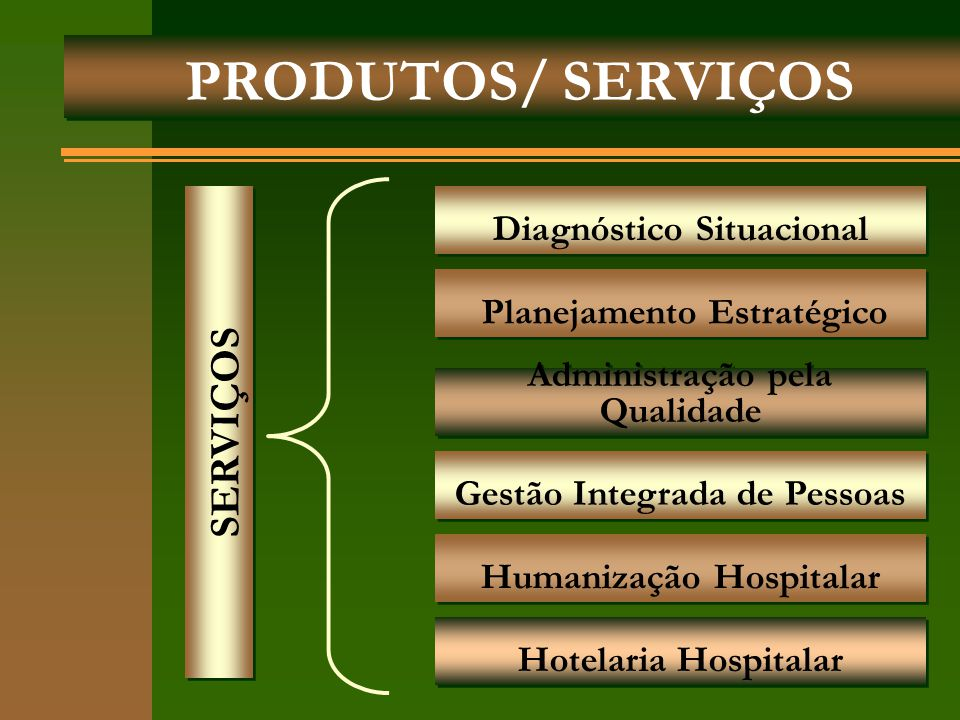 PRODUTOS/ SERVIÇOS SERVIÇOS Diagnóstico Situacional