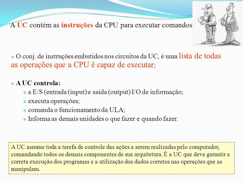 A UC contém as instruções da CPU para executar comandos;