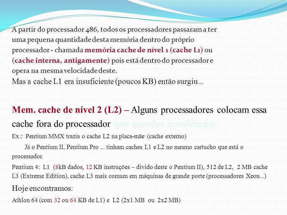 A partir do processador 486, todos os processadores passaram a ter uma pequena quantidade desta memória dentro do próprio processador - chamada memória cache de nível 1 (cache L1) ou (cache interna, antigamente) pois está dentro do processador e opera na mesma velocidade deste.