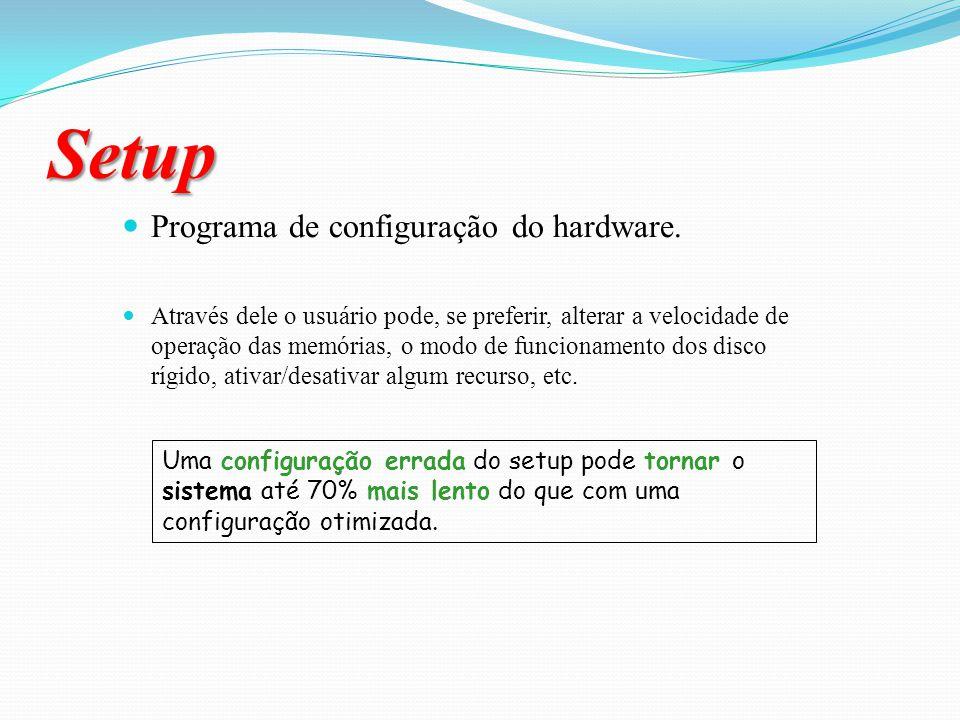 Setup Programa de configuração do hardware.