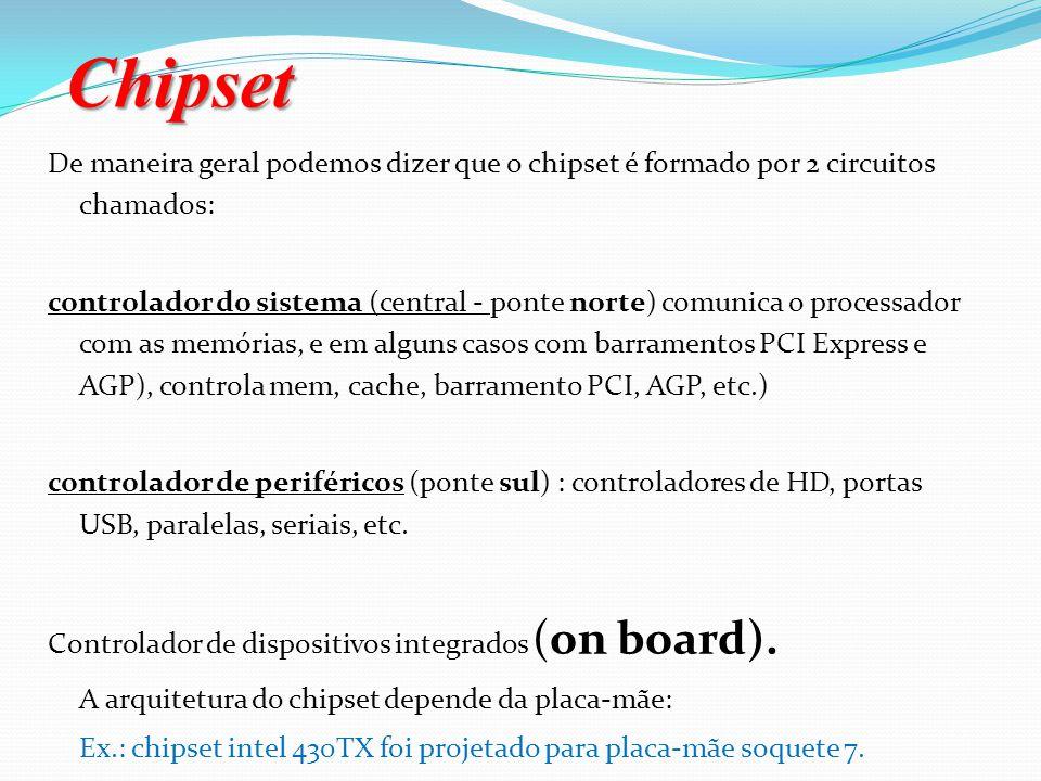 Chipset De maneira geral podemos dizer que o chipset é formado por 2 circuitos chamados:
