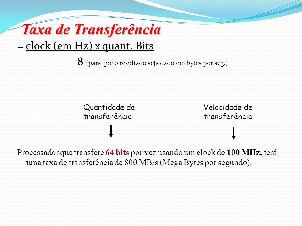 Taxa de Transferência = clock (em Hz) x quant. Bits
