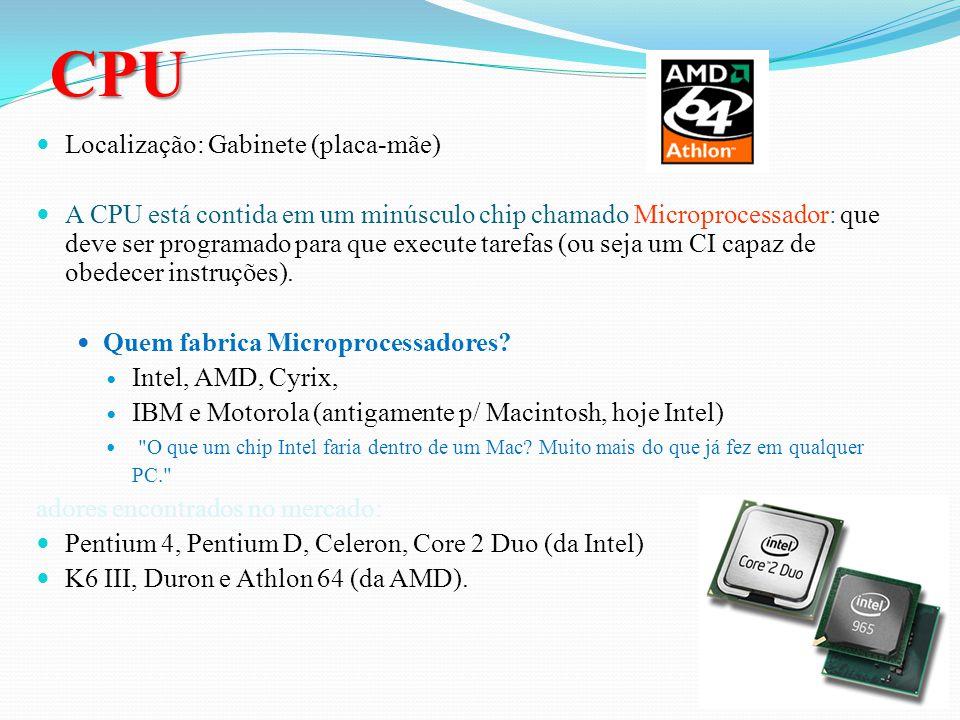 CPU Localização: Gabinete (placa-mãe)