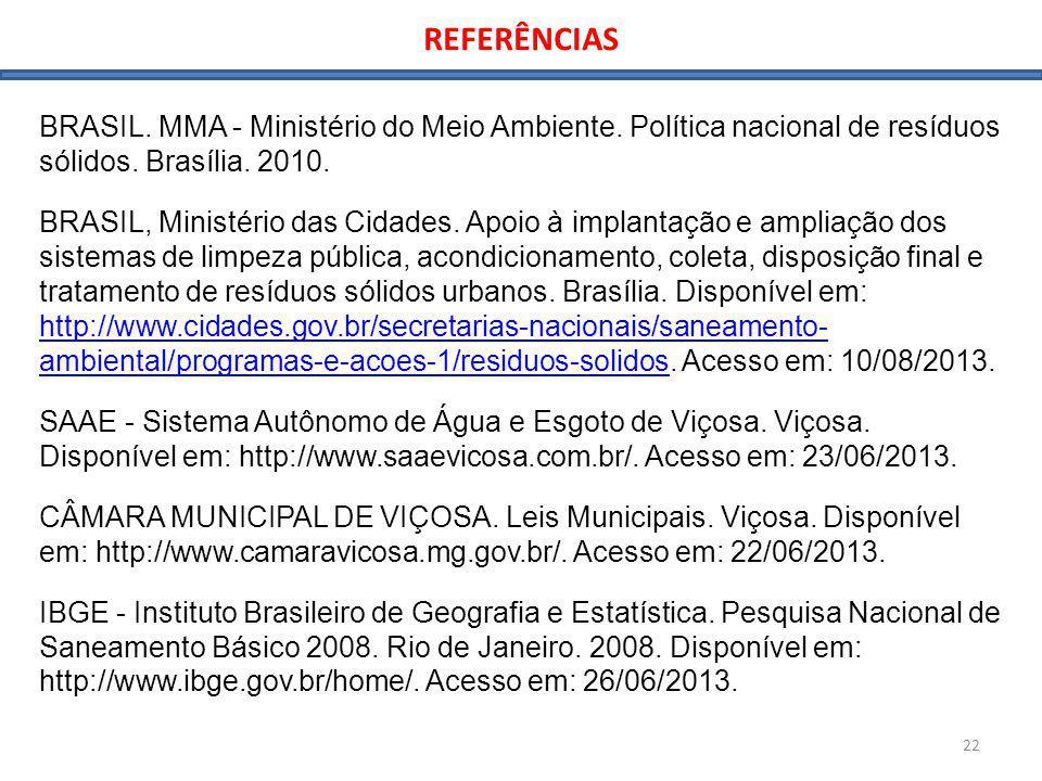 REFERÊNCIAS BRASIL. MMA - Ministério do Meio Ambiente. Política nacional de resíduos sólidos. Brasília. 2010.