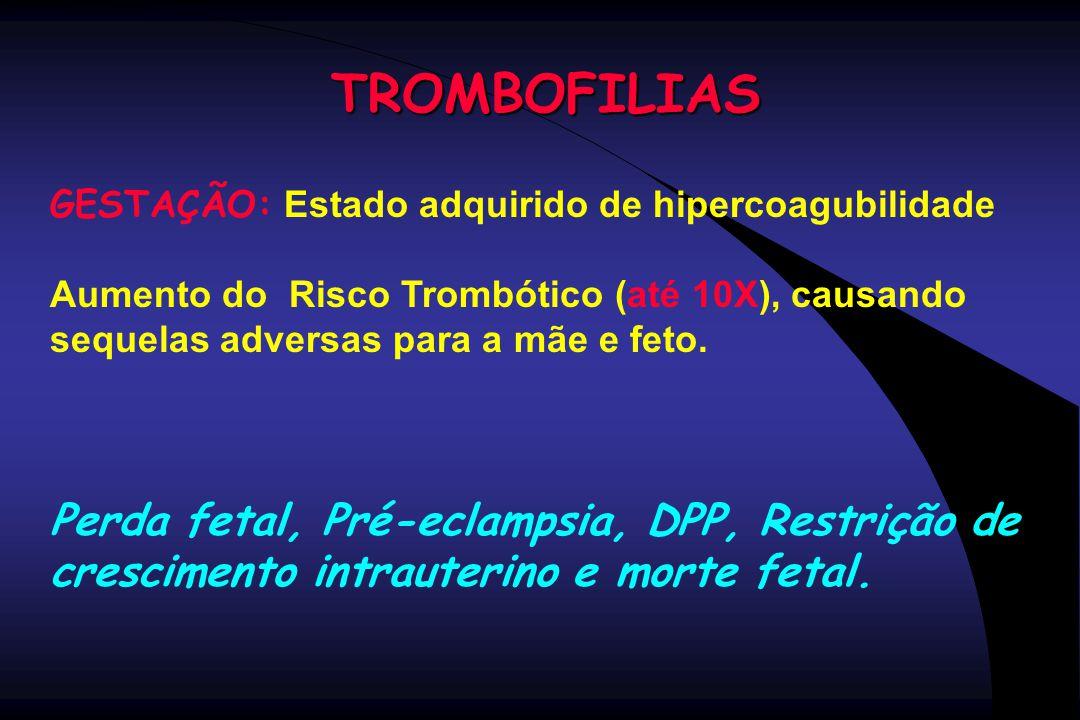TROMBOFILIAS GESTAÇÃO: Estado adquirido de hipercoagubilidade. Aumento do Risco Trombótico (até 10X), causando sequelas adversas para a mãe e feto.