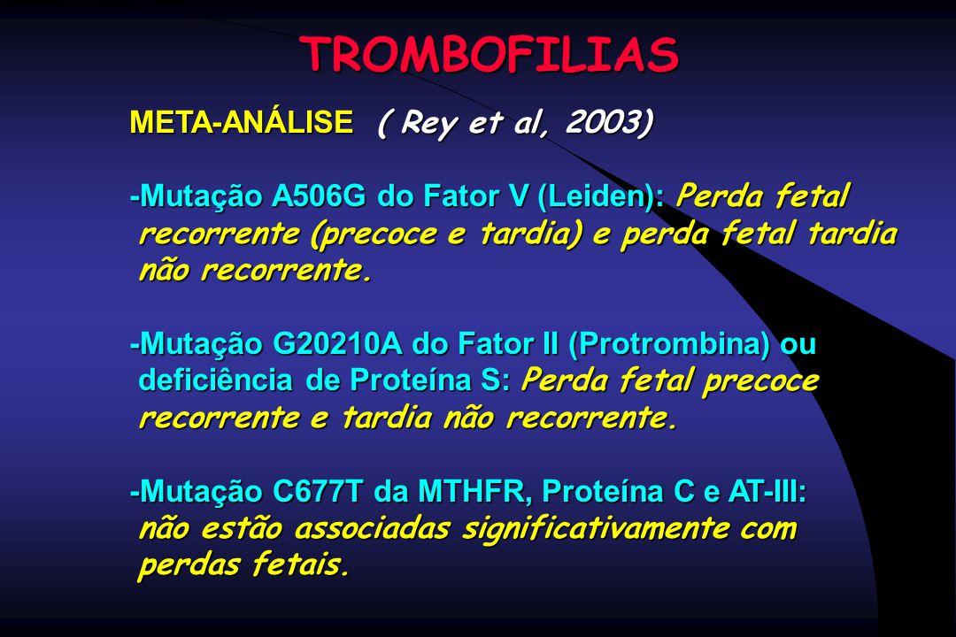 TROMBOFILIAS META-ANÁLISE ( Rey et al, 2003)