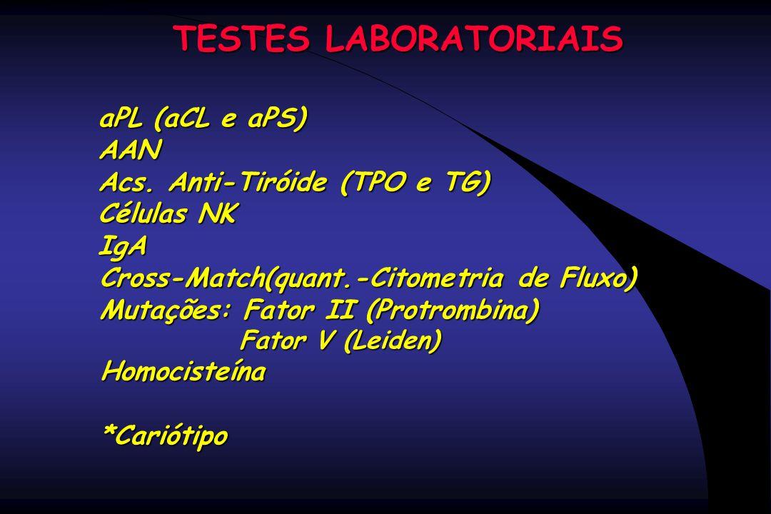 TESTES LABORATORIAIS aPL (aCL e aPS) AAN Acs. Anti-Tiróide (TPO e TG)