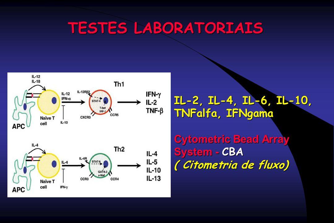 TESTES LABORATORIAIS IL-2, IL-4, IL-6, IL-10, TNFalfa, IFNgama