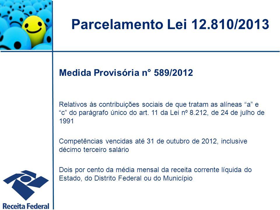 Parcelamento Lei 12.810/2013 Medida Provisória n° 589/2012