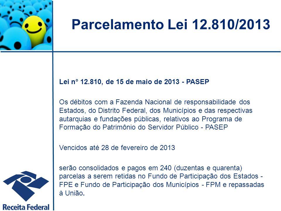 Parcelamento Lei 12.810/2013 Lei n° 12.810, de 15 de maio de 2013 - PASEP.