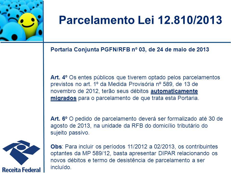 Parcelamento Lei 12.810/2013 Portaria Conjunta PGFN/RFB nº 03, de 24 de maio de 2013.