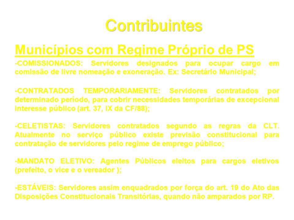 Contribuintes Municípios com Regime Próprio de PS