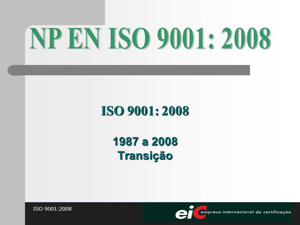 NP EN ISO 9001: 2008 ISO 9001: 2008 1987 a 2008 Transição 15