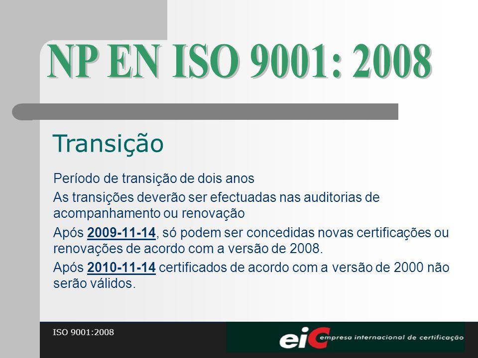 NP EN ISO 9001: 2008 Transição Período de transição de dois anos