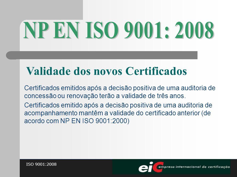 NP EN ISO 9001: 2008 Validade dos novos Certificados