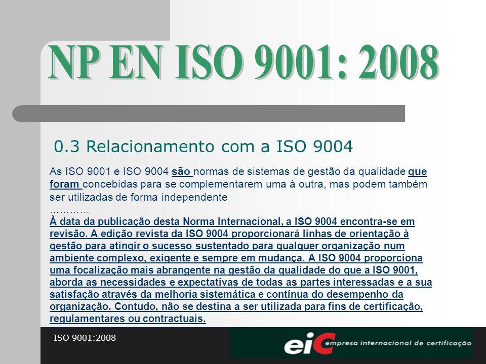 NP EN ISO 9001: 2008 0.3 Relacionamento com a ISO 9004