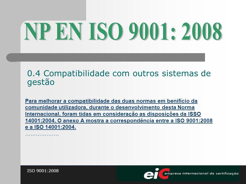 NP EN ISO 9001: 2008 0.4 Compatibilidade com outros sistemas de gestão