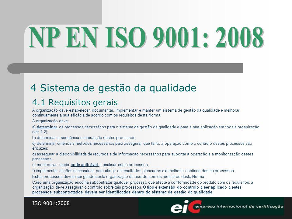 NP EN ISO 9001: 2008 4 Sistema de gestão da qualidade